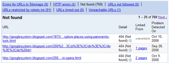 Google webmaster - not found urls