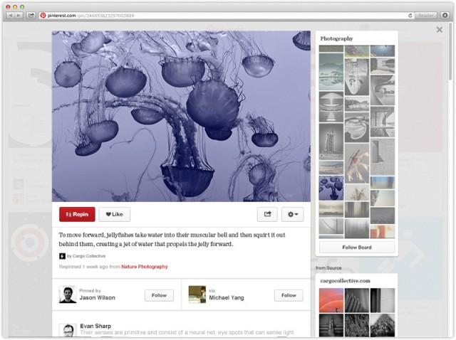Новият дизайн на детайлния преглед на отделен пин в Pinterest