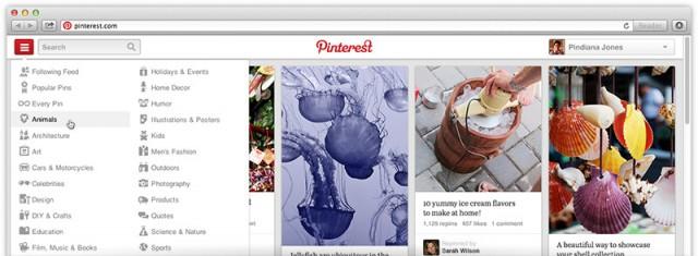 Новата навигация в Pinterest